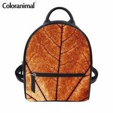 a3d726869 Coloranimal Maples Folhas Impressão Compras Viagem Mini Sacos para  Estudante Da Escola Da Forma Das Mulheres PU Couro Bolsas de .