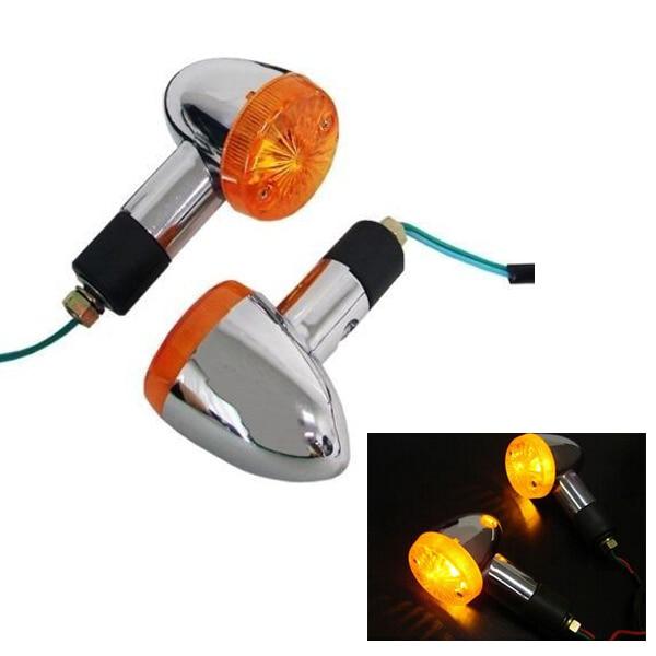 2 PCS Motorcycle Motorbike Amber Turn Signal Lights For Kawasaki Vulcan VN 750 800 900 1500 1600 1700 2000