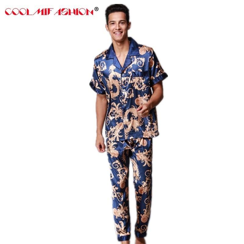 Mens Pajama Set Brand Pajamas Summer Men's Faux Silk pyjamas men Long Pant Male Home Clothing Luxury Sexy Sleepwear Clothing