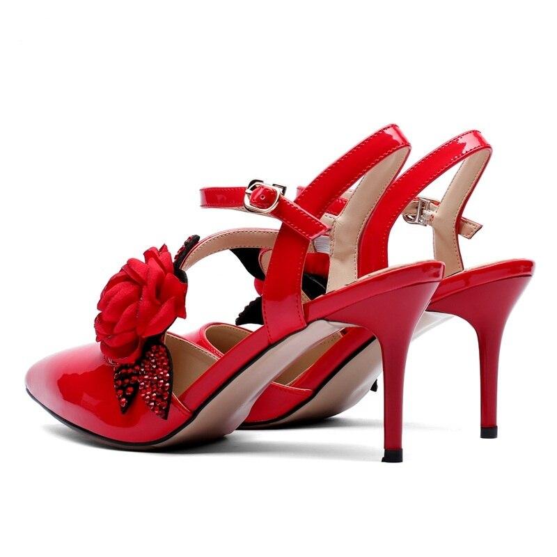 Flores Altos apricot Hebilla Tacones Vestido Dedo Del Puntiagudo Genuino Black Cuero Zapatos red Calzado Sandalias De Estilete Sexy Pie Mujer Boda wqROSO5