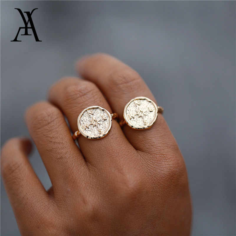 Boho Gold Color Hammered Travel Wanderlust Compass Ring Vintage Best Friends Rings for Women Graduation Gift Friendship Jewelry
