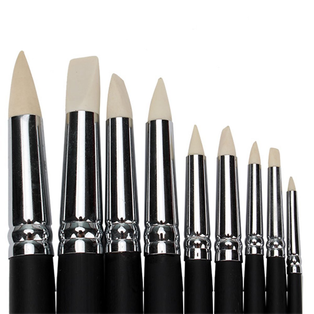 BQLZR Clay Color Shapers Black Wood Shank Pottery Painting Tools Pack of 9
