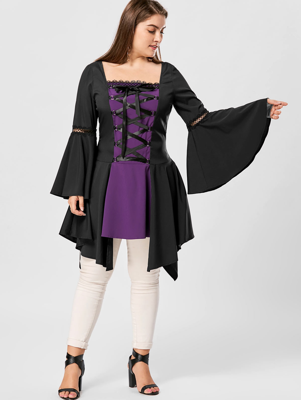 73a574725dd74 Wipalo Ladies Flare Bell Sleeve Blouse Shirt Vintage Lace Up Gothic Lolita  Top Women Clothes Asymmetrical Blusas Plus Size