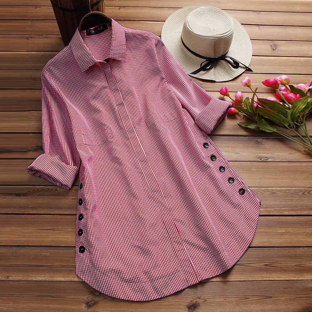 Women's Clothing Alert Womens Long Sleeve Blouse Lattice Button Casual Tops Shirt Loose Plus Size Blouse Women Blusas Mujer De Moda 2019 Dropshipping