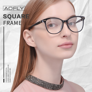 Image 2 - AOFLY moda gözlük kadın perçin tasarım büyük boy yuvarlak optik çerçeve klasik gözlük Vintage okuma şeffaf Lens AF9205