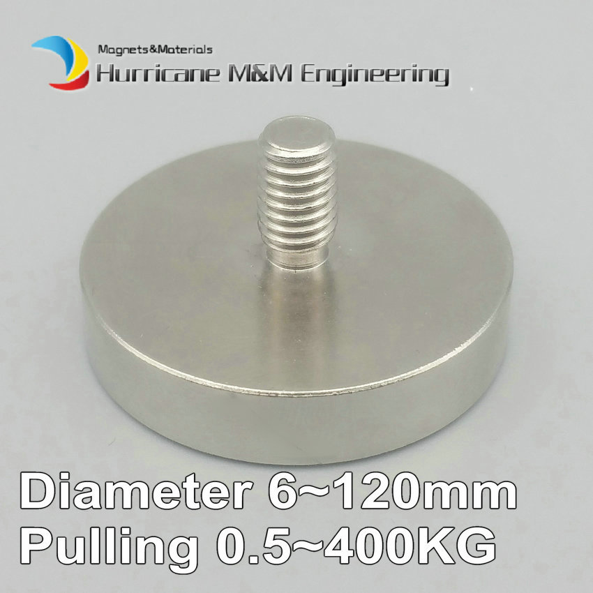 1 Pack 400KG Mounting Magnet Diameter 16-120mm Lathed Pot Magnet  Male Thread Neodymium Lifting Magnet Strong Holding Magnet 2pcs mounting magnetic disc diameter 88 mm led light holding spotlight holder male thread ndfeb magnet strong neodymium magnet