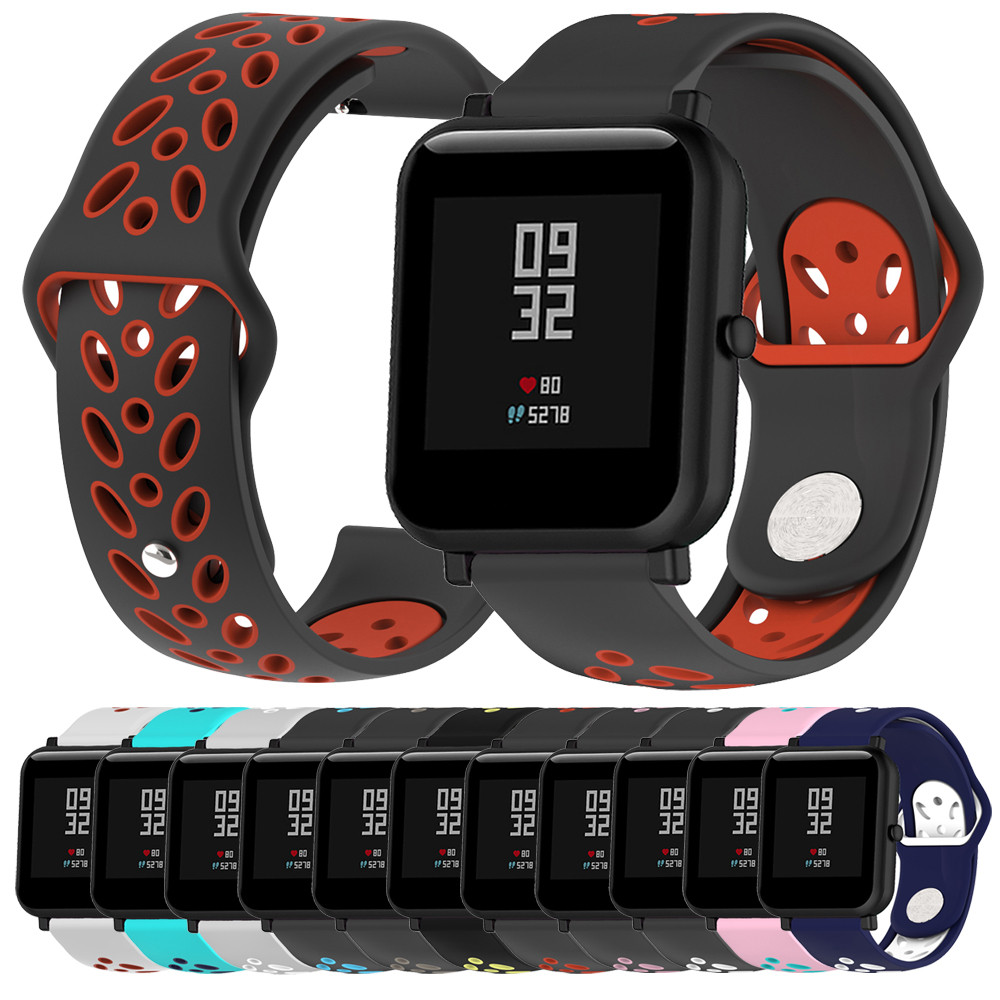 Sport Double Colour Soft Silicon Accessory Watch Band Wirstband For Huami Amazfit Bip Watch Correas de relojSport Double Colour Soft Silicon Accessory Watch Band Wirstband For Huami Amazfit Bip Watch Correas de reloj