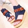 New fashion summer women shoes big size 30-43 denim flip flops rivet buckle decoration leisure Trifle thong sandals MLE-X103