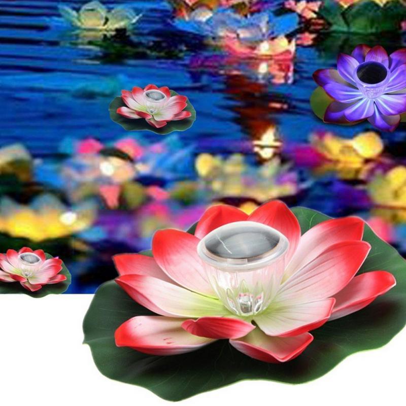 New Solar Power Floating Lotus Flower LED Light Pool Garden Night Light View Lamp 2V Beautiful Solar Floating Pool Light