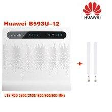 Unlocked Huawei B593 B593u-12 4G LTE FDD 4G kablosuz yönlendirici 100 Mbps WiFi Hotspot SIM Kart Yuvası + 2 adet 4g B593 anten