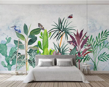 beibehang Custom wallpaper mural Plant hand painted watercolor tropical Hummingbird Modern home background wall 3d