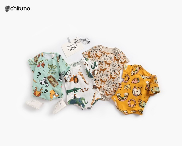 Chifuna New Summer Toddler Clothes Boys&Girls Cartoon Pattern Mesh Soft Covered Button Six Colors Onesies Baby Romper