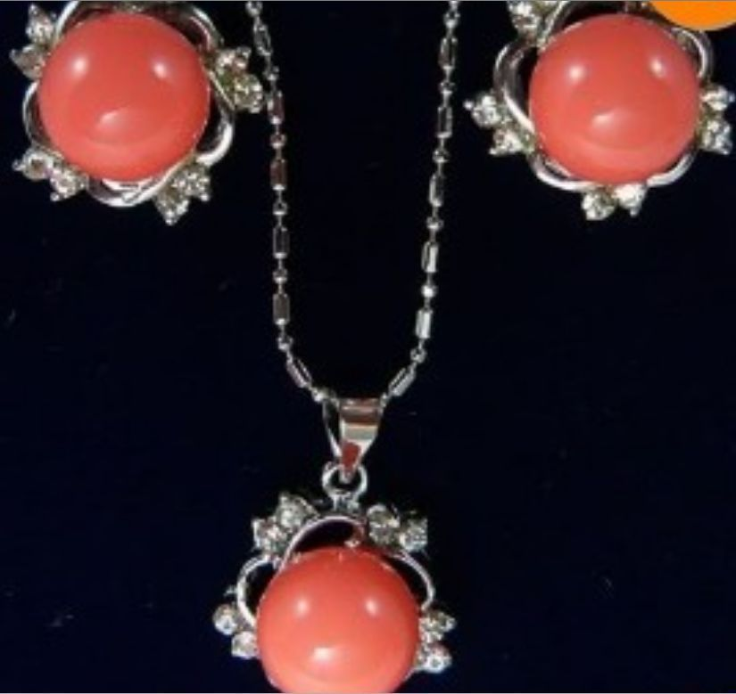 ELEGANT RED CORAL CRYSTAL PENDANT EARRING SILVER SET AAA style 100% Natural Noble Fine jewe