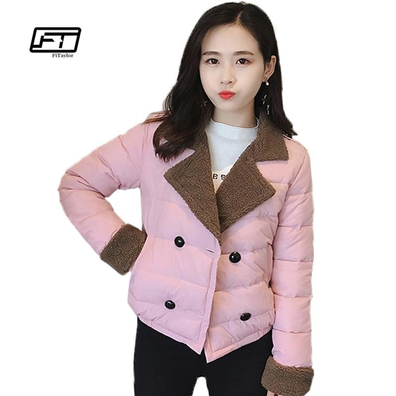 Fitaylor Winter Short Cotton Padded Jacket Women Cute Single Breasted Thicken Warm Long Sleeve Slim Cotton Parkas Coat Women