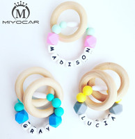 Personalised Any Name Handmade Silicone Teething Ring No BPA Food Grade Safe Silicone Teether Baby Teething