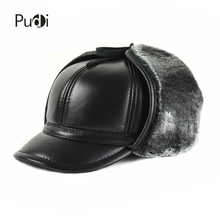 HL166-F Genuine leather baseball cap hat  men's winter brand new cow skin leather sport  hats caps black with Faux fur inside