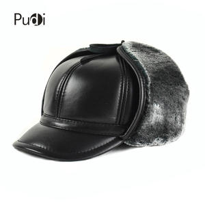 9bc08082b92 pudi Genuine leather baseball cap men s winter hats black