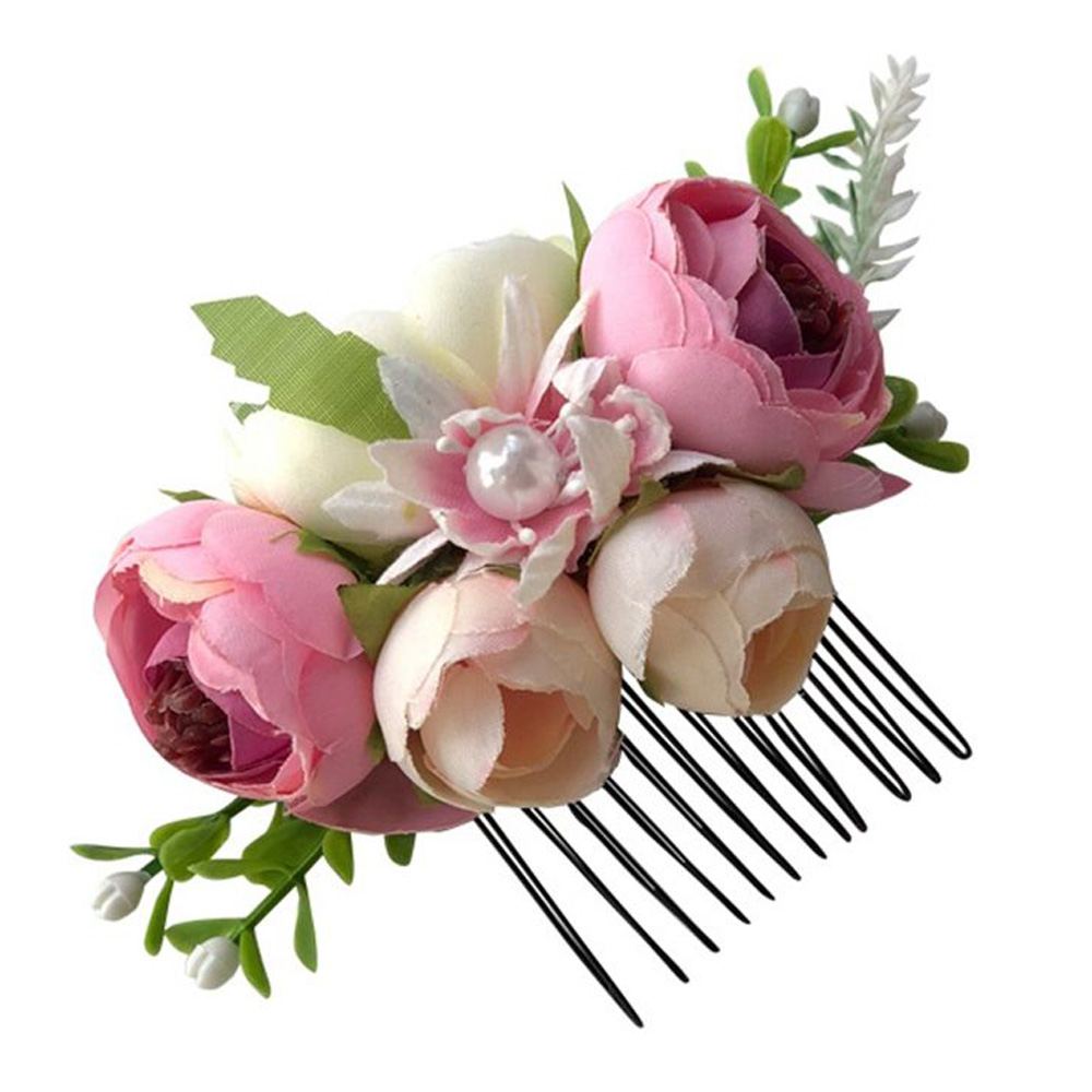 1PC Fashion Flower Pearl Hairpin Artificial Flower Leaves Girls Photography Hair Clip Green,Red,Pink,Purple Floral Children Gift