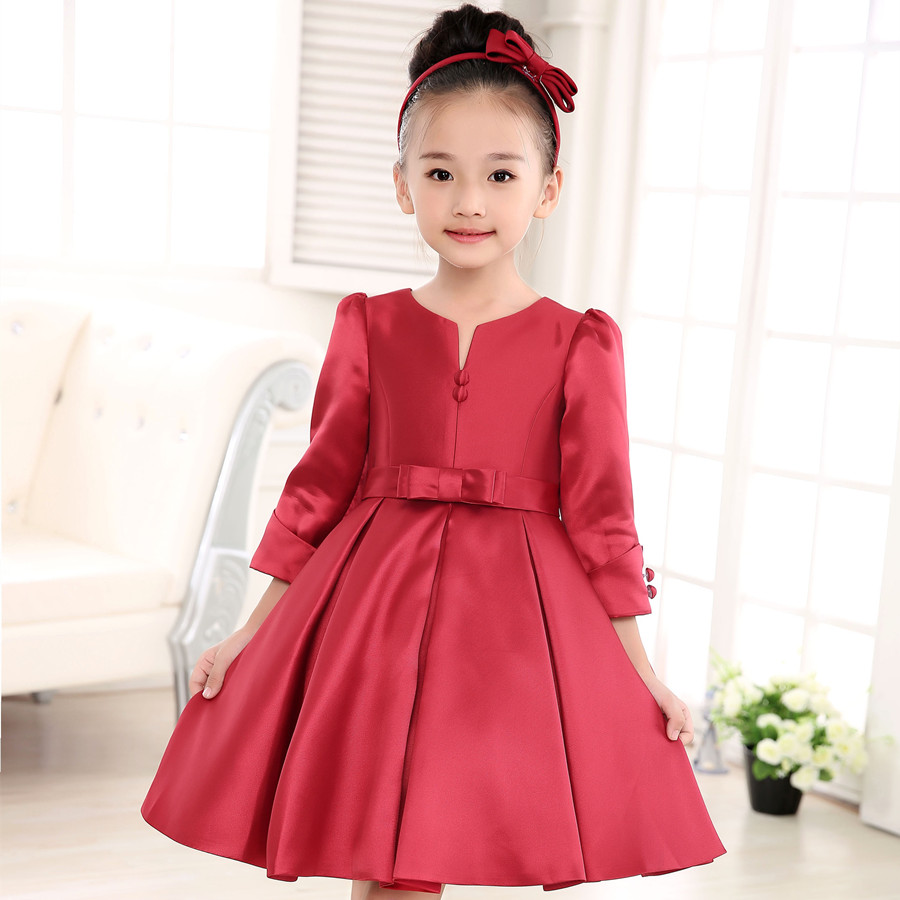 2016 Children's clothing Red Flower Girls Dress Kids Princess Sleeveless Vest Dresses Big Bow Happy New Year costuming 90-150 new year spring 2016 new corduroy pleated dress dress red princess dress