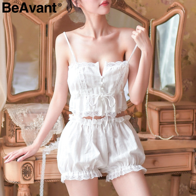BeAvant Two-pieces sleepwear women   pajama     set   Spaghetti strap white sexy   pajamas   female Vintage elastic lantern short nightwear