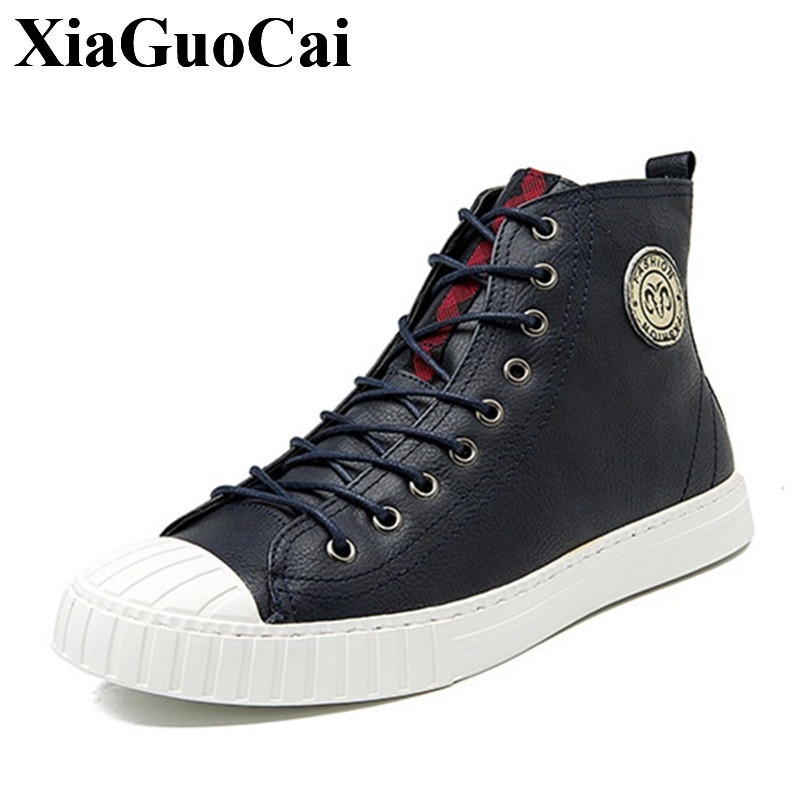 New Fashion Casual Shoes Men Lace-up&zipper High-top Flat Skate Shoes Leather Classics Round Toe Fur Men Winter Shoes H420 35