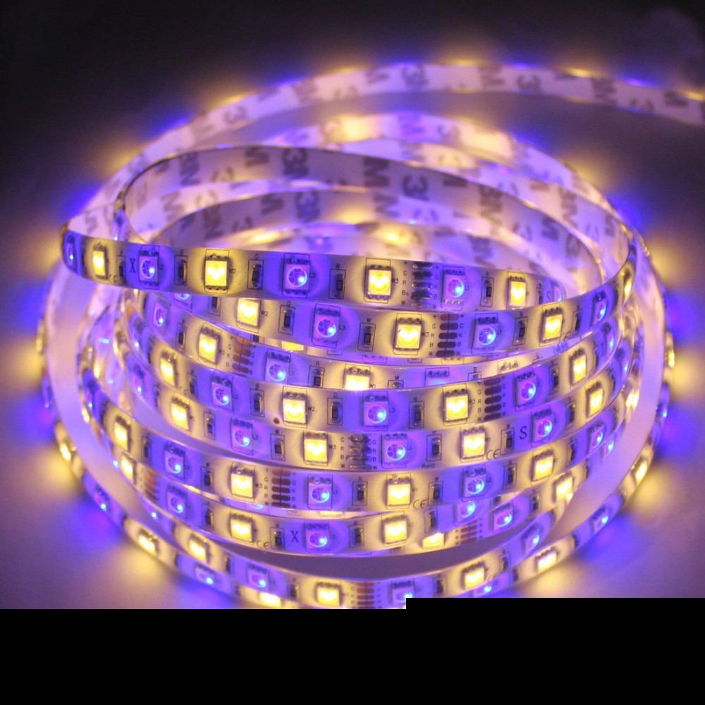 Free shipping RGBW LED Strip waterproof 5050 SMD 5M 300Led Warm/Cool White Light + 40key Remote Controller magicfull