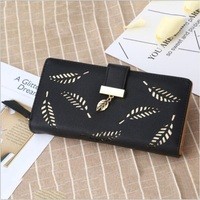Hollow Out Women Wallet Long Hasp Soft PU Leather Purse Beautiful Leaves Design Card Holder Cash