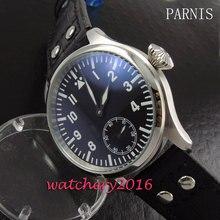 44mm Parnis black dial rivets leather strap steel case 6498 hand winding Movement Men's Wrist watch