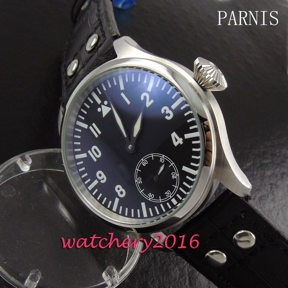 47mm Parnis black dial rivets leather strap steel case 6498 hand winding Movement Men's Wrist watch цена и фото