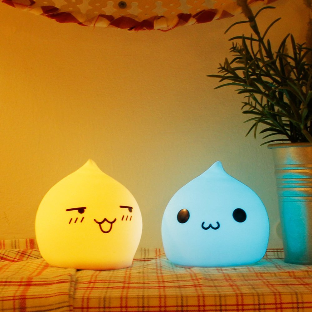 Baby Night Light,Portable Battery Powered Silicone Night Lights Warm White 7-Color Breathing Modes gift for Kids,Children Girls