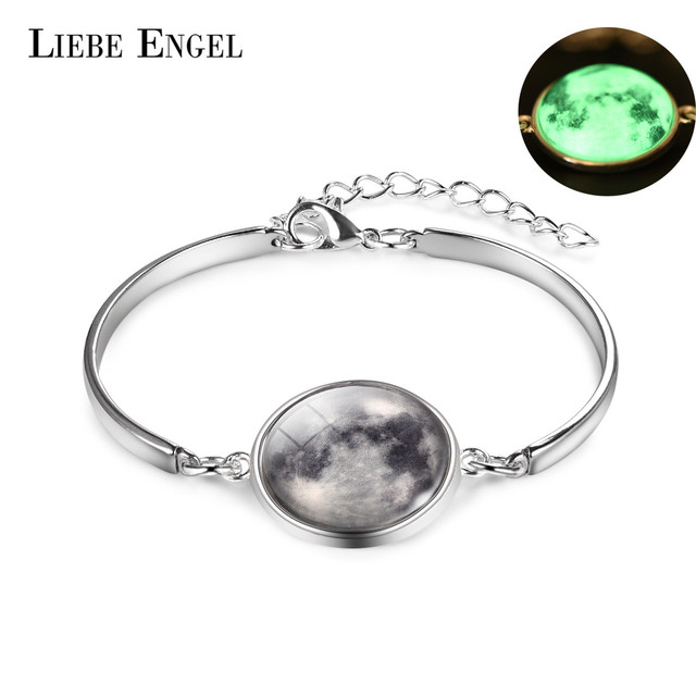 LIEBE ENGEL Glowing in the Dark Galaxy Moon Bracelet For Women Jewelry Luminous