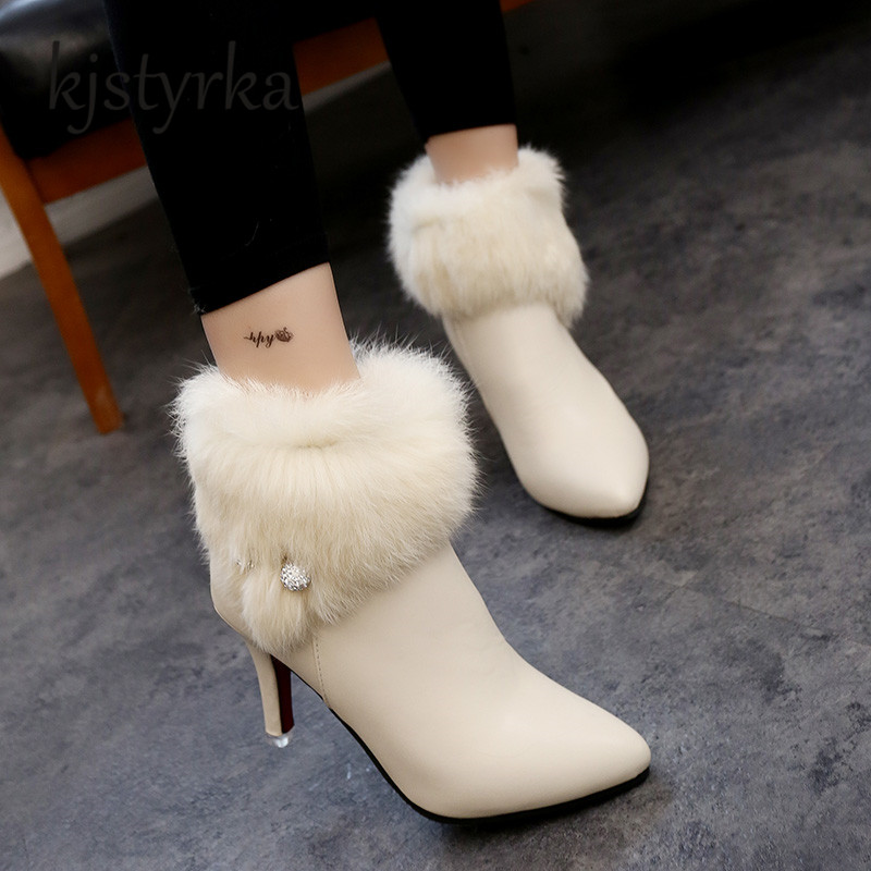 Kjstyrka 2018 Winter Rabbit Fur Boots Women's Plush Warm Ankle White Boots Thin High Heels fashion Shoes zapatos mujer tacon