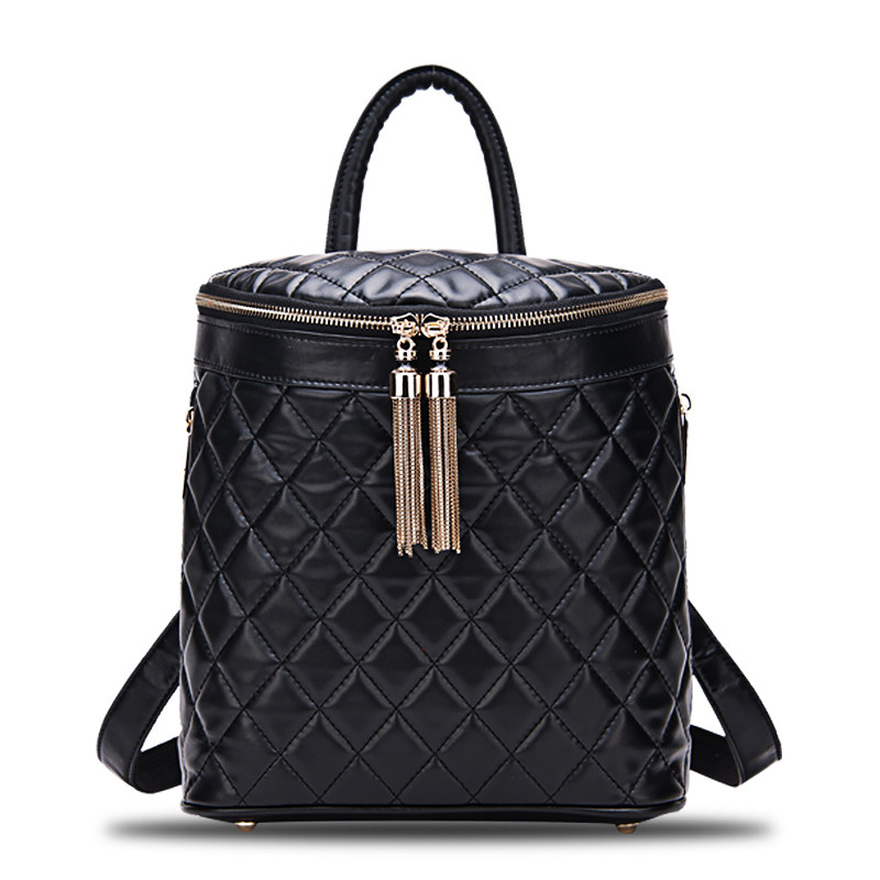 Women Trendy Fashion 2017 New Genuine Leather Bag Diamond Lattice Barrel-shaped Backpack Lady Tassel Casual Zipper Daypack for xerox ct201664 ct201665 ct201666 ct201667 toner cartridge for xerox dp c5005 dp c5005d dpc5005d dpc5005 dp c5005 c5005d
