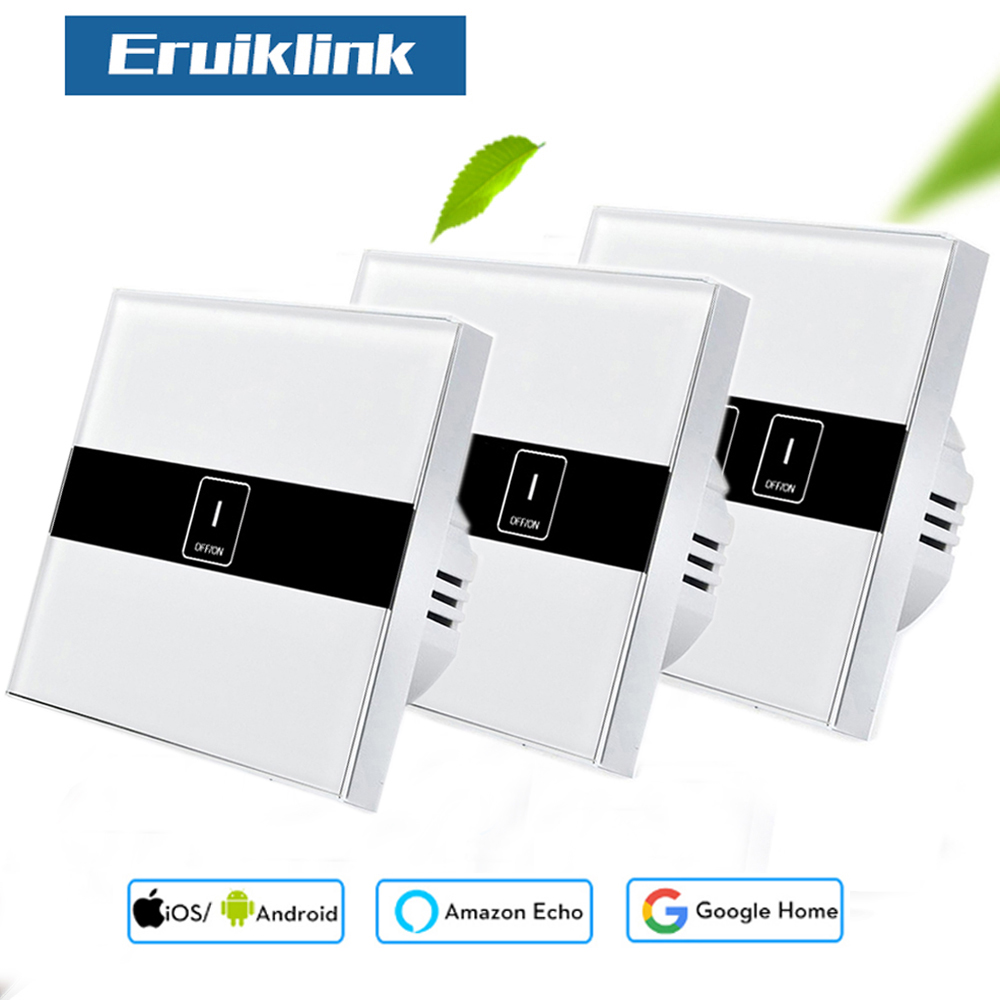 Eruiklink EU Standard 1/2/3 Gang Wifi Control Switch via Ewelink APP, Wireless Control Light Touch Wall Switch for Smart Homne sonoff t1 us smart touch wall switch 1 2 3 gang wifi 315 rf app remote smart home works with amazon free ios and app ewelink