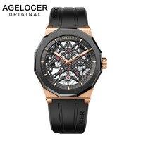Mechanische Self wind Automatische Horloges Skeleton Zwitserse Merk AGELOCER Power Reserve 80 Uur Sappire Horloge Met Rubberen Band-in Sporthorloges van Horloges op