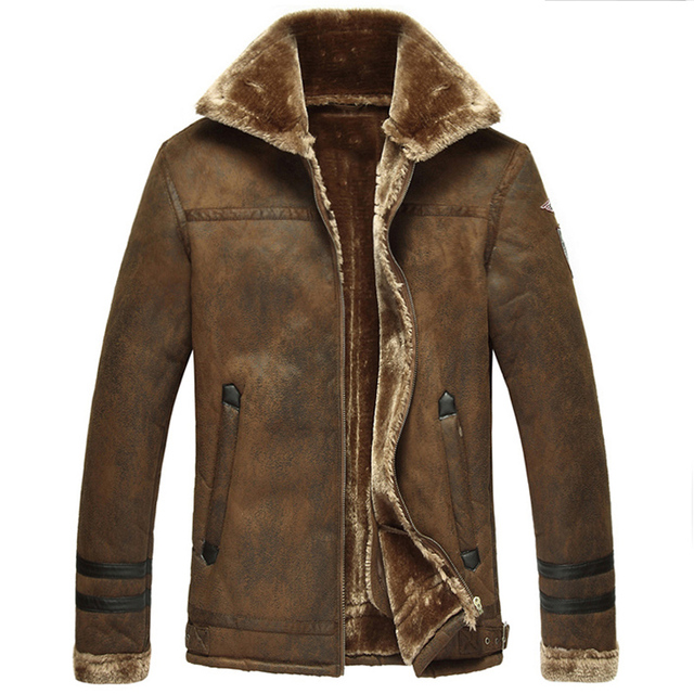 Russian Winter Style  Mens Faux Fur Leather Jacket and Coats Super Quality Cool Fur Leather Jackets For Men Washed Printed C232
