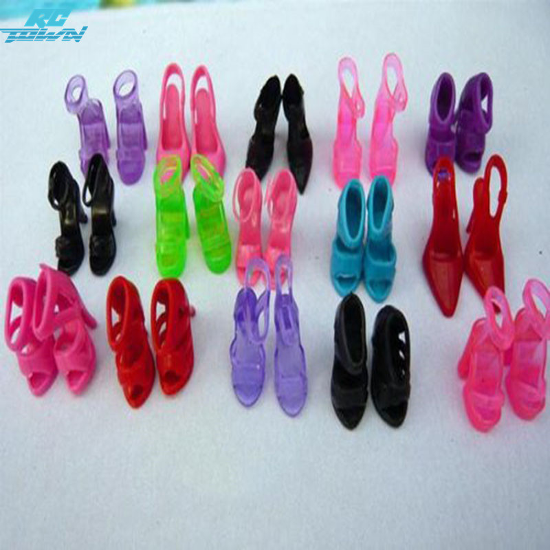 RCtown Beautiful 10 Pairs Shoes for Barbie Doll Great Children Gift Doll Accessories Toy For Children Gift zk15