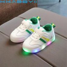 Новые детские светящиеся туфли для мальчиков и девочек в полоску спортивные кроссовки детские огни модные кроссовки для малышей Детские светящиеся кроссовки