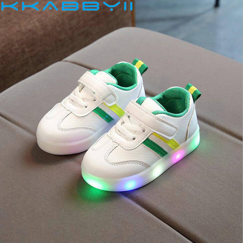 Nuevos zapatos luminosos para niños, niños, niñas, rayas, zapatillas deportivas, luces para bebés, zapatillas de moda para niños, zapatillas LED