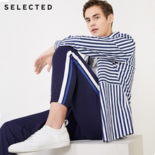 SELECTED new men's trendy stripe stitching straight tapered casual pant
