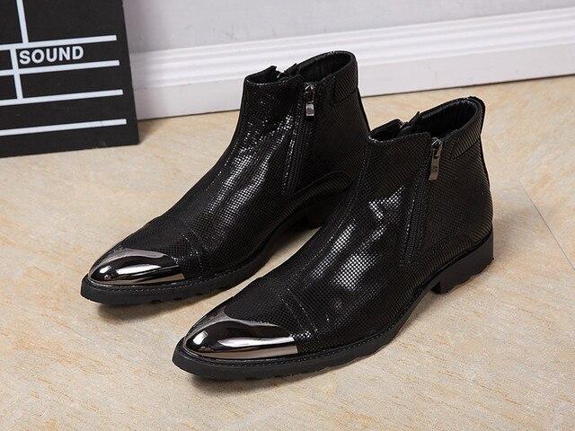 283b4f9b636 Nueva Arrials Hombres Botines de Cuero Guapo Cremallera Hombres Zapatos de  Vestir de Cuero de Impresión