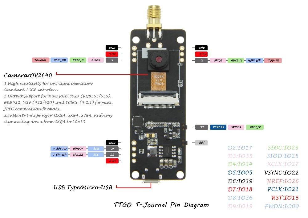 TTGO T-Journal ESP32 Digital camera esp32 OV2640 Digital camera Module  Improvement Board SAM Wifi 3dbi Antenna 0 91 OLED ESP32 Digital camera  Board -