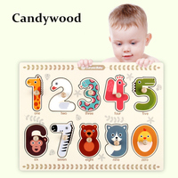 Baby-spielzeug Aus Holz Puzzle/Hand Greifen Bord Set Educational Holzspielzeug Cartoon Digitaler Tier Puzzles Kind Geschenk