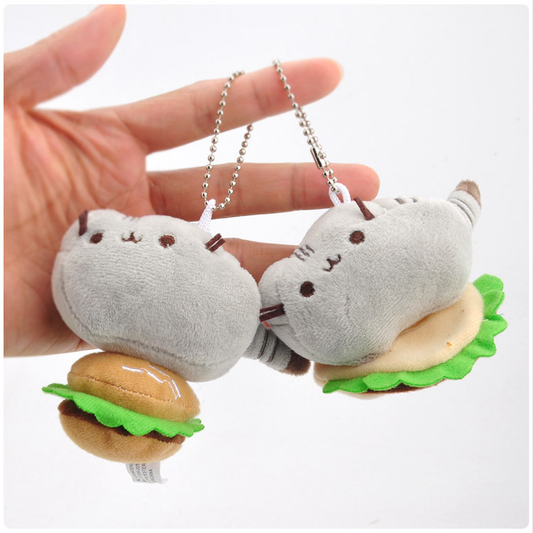Burger Ice Cream Biscuits Style Cat Plush Pendant Toy Doll Mini Cute Clamshell Doll Plush Keychain 8cm  WJ04