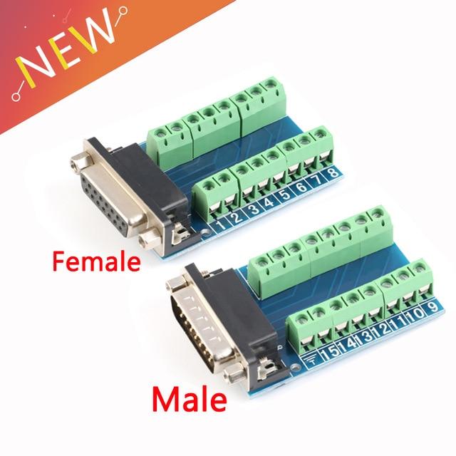 DB15 D-SUB VGA 15pin Female Male Adapter Jack Terminal Breakout PCB Board