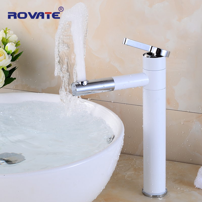 цена на ROVATE Rotatable Basin Faucet Swivel Spout Tall Deck Mounted Sink Tap Rotary Head for Bathroom Mixer