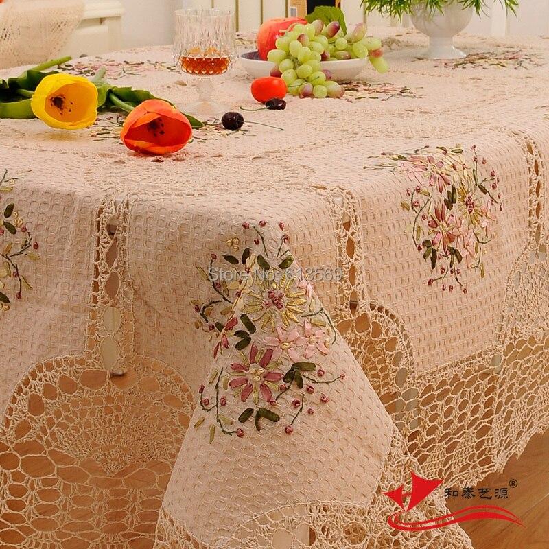 Algodón de ganchillo mantel mantel bordado manteles para la - Textiles para el hogar