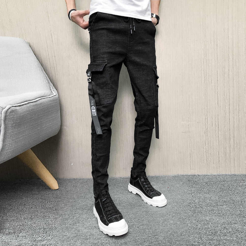 Gloednieuwe Jeans Mannen Mode 2019 Lente Denim Cargo Broek Mannen Slim Fit Side Pocket Casual Mens Slim Fit Jeans alle Match 33-28