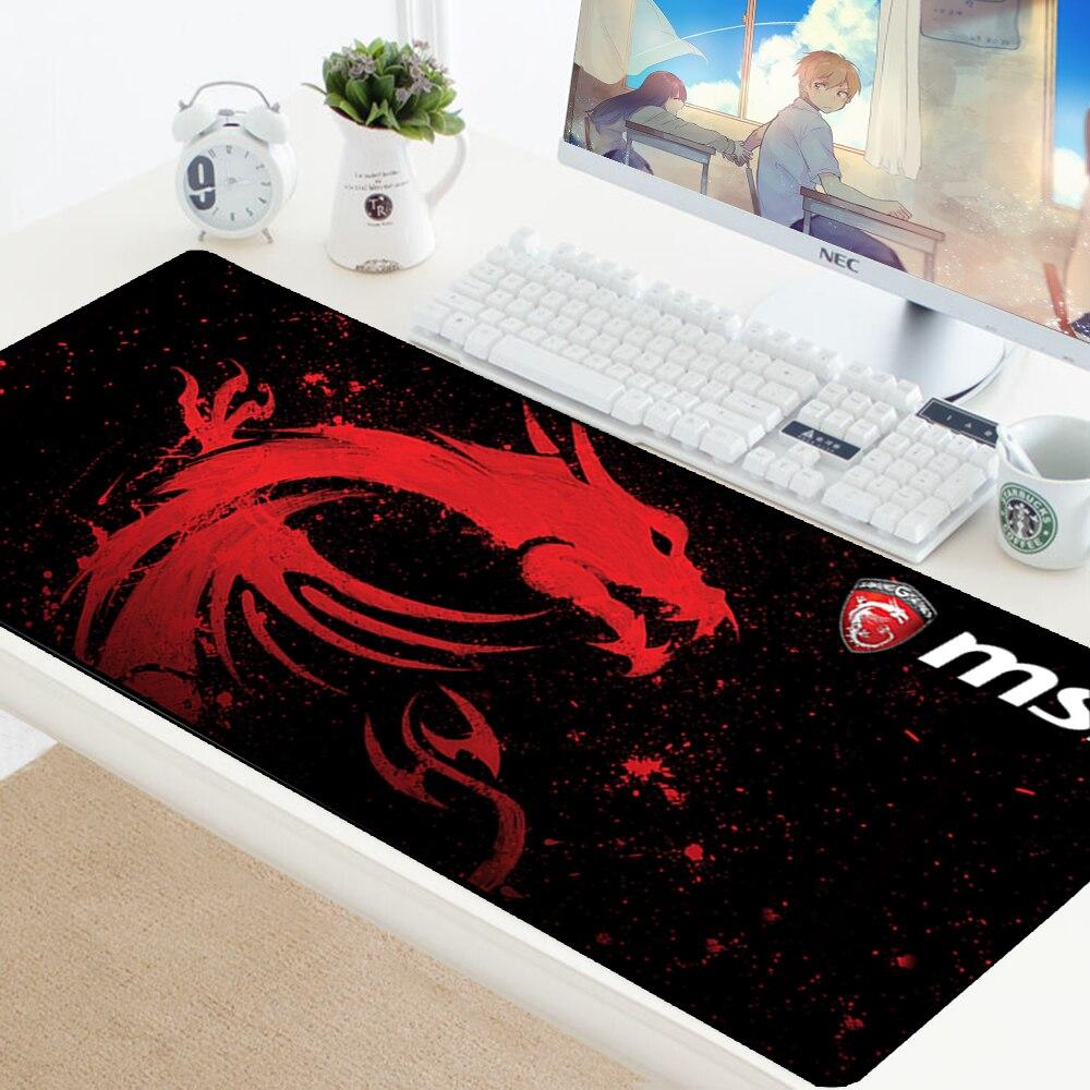 Alfombrilla de ratón grande XL Gamer antideslizante alfombrilla de goma MSI Logo Gaming Mousepad para teclado ratón de velocidad ratón alfombrilla 70x30 cm