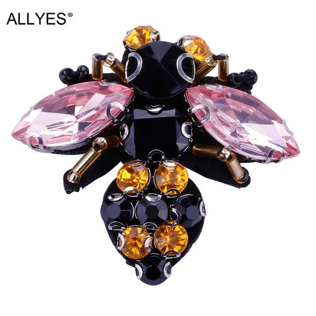 Allyes прекрасный кристалл Bee Брошь Jewelry Женская мода красивый костюм с лацканами насекомых Булавки Броши для Для женщин